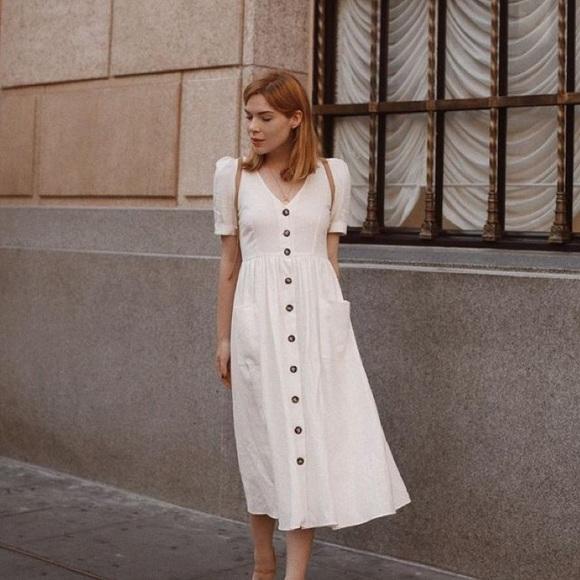 39371d89 White Linen Buttoned Dress Zara. M_5bbcae913e0caa84bc5d0e72